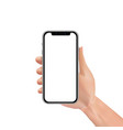 realistic hand holding smartphone with blank or vector image vector image