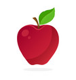 red apple with stem and leaf vector image