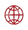 Red grunge world logo vector image vector image
