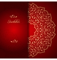 Red lace background with floral ornament vector image