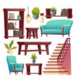 rustic house hallway interior isolated stuff set vector image vector image