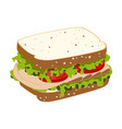 sandwich with ham vector image vector image