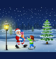 santa bring gift box with little girl in the snowi vector image