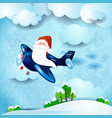 santa on the plane over the countryside vector image