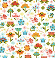 Seamless Flowers White Pattern vector image vector image