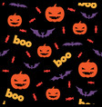 seamless halloween pattern with pumpkins candy vector image vector image