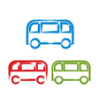 Set of hand-drawn colorful bus icons brush drawing vector image vector image