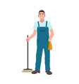 smiling man dressed in dungarees holding scrubber vector image