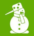 snowman icon green vector image vector image