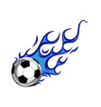 soccer ball with blue flames vector image vector image