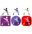 Sport icon for gymnastics in three colors vector image