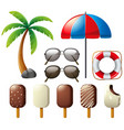 sunglasses and popsicles for summer vector image vector image