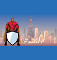 superhero holding shield in city vector image vector image