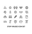 viruse stop sign black thin line icon set vector image