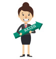 woman holding arrow sign on white background vector image vector image