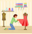 woman sewing dress in flat vector image