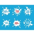 milk emblems or dairy labels with splashes vector image