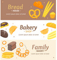 cartoon color bakery banner card horizontal set vector image