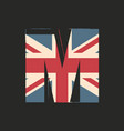 capital 3d letter m with uk flag texture isolated vector image