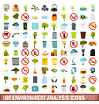 100 environment analysis icons set flat style vector image vector image