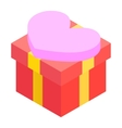 A red gift box isometric 3d icon vector image vector image