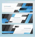 abstract black and blue geometric banners set vector image