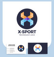 abstract letter x origami style logo template vector image vector image