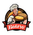 bakery bakehouse logo or label happy baker or vector image vector image