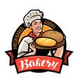 bakery bakehouse logo or label happy baker or vector image