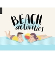 Beach activities calligraphy with sunbathing young vector image