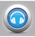 blue metal button with headphones vector image vector image