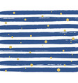 blue stripe pattern with golden dots on white vector image vector image