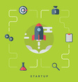 Business Start Up Concept with Rocket Flat Style vector image