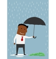 Businessman protecting money with umbrella vector image vector image