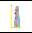 cartoon adult man taking shower isolated vector image vector image