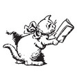 cat wearing bow and reading book vintage vector image vector image