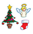 christmas cartoon icon set - tree angel stocking vector image