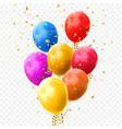 colorful balloons golden stars confetti birthday vector image