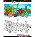 comic vegetables cartoon for coloring book vector image vector image