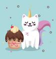 cute cat sweet kawaii with cupcake birthday card vector image