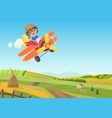 cute little boy flying in airplane above vector image