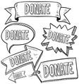 doodle label tag banner donate vector image vector image