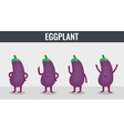 Eggplant Funny cartoon vegetables Organic food vector image