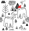 Endless pattern with polar bear in red heat in the vector image vector image