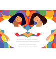 Fashion abstract poster with twins women vector image