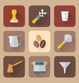 flat style coffee barista instruments icons set vector image vector image