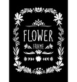Flower Frame Hand Drawn Black and White vector image