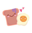 fried egg and bread with jam menu character vector image vector image