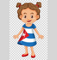 girl in cuba flag on dress vector image vector image