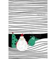 greeting card with christmas tree santa and deer vector image vector image